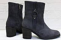 Женские замшевые ботинки на устойчивом каблуке, фото 1