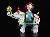 Статуэтка Металл / Цветная Эмаль / Шкатулка / Драгоценный Слон / Буддийский символ / 10 см