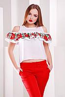 Блуза Марелина Маки-калина б/р, (2цв), блуза с вышивкой, блуза с воланом, белая блуза, черная блуза