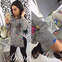 """Рубашка женская с цветами """"AmoreMio"""" 2P/RVS 1335"""