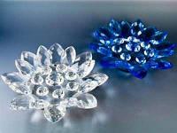 Лотос хрустальный 16 лепестков Цветок большой 18.0 x 18.0 x 4.5 см
