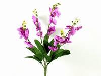 Букет / Ветка орхидеи / 5 веток / 0,5 м / 20 цветков / 15 листьев / Сиреневый