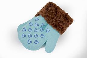 Детские варежкие утепленные махра Голубой, фото 2