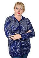 Кофта вязаная с капюшоном большой размер Ryaba синий/белый (52-58)