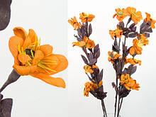 Цветок Глициния / Набор 5 шт / 1 м / 4 цветка, 9 бутонов, 3 листика / Оранжевые
