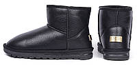 Угги мужские UGG Australia черные кожаные низкие, Черный, 41