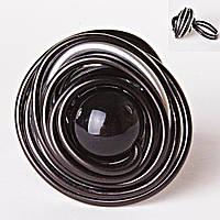 Кольцо гнездо крученое круг черная бусина градиент