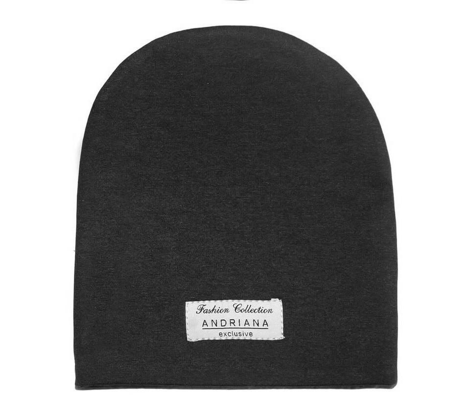 Двойная шапочка 44-46,48-50,52-54 см. Andriana Kids темно-серая