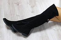 Осенние натуральные замшевые сапоги-ботфорты черного цвета