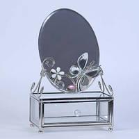 Шкатулка стеклянная с зеркалом Зеркальная бабочка Charme De Femme