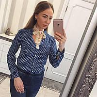 Женская рубашка в горох с бантиком