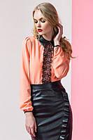 Блуза женская летняя с кружевом и воротничком