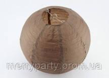 Подвесной бумажный шар плиссе 20 см коричневый