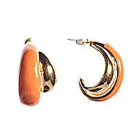 Серьги женские, полумесяцем, исполнены в оранжево- золотой гамме, объемные, пусеты, гвоздики, оптом