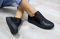 Женские кожаные низкие кроссовки цвет : черный материал: натуральная кожа, кож. подкладка