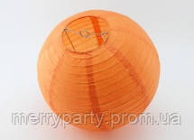 Подвесной бумажный шар плиссе 25 см оранжевый