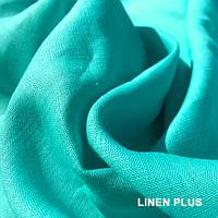 Бирюзовая льняная ткань 100% лен., цвет 849