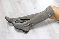 Зимние натуральные замшевые сапоги-ботфорты цвет : песочный