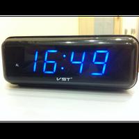 Часы электронные сетевые vst 738-5, будильник с отсрочкой сигнала, синий электронный циферблат