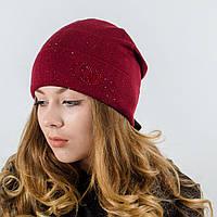 """Женская шапка, LaVisio """"Нинель"""" с камнями (вишня)"""