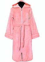 Женский махровый халат на поясе теплый домашний зимний розовыйl велсофт мягкий с капюшоном Украина