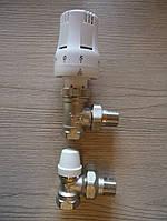 """Комплект- термоголовка+ кран термостатический+ кран радиаторный нижний ½"""""""