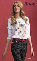 Бежевая блуза Adelina Zaps с цветочным принтом