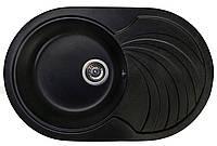 Кухонная гранитная мойка 78*50 Valetti черная овальная серия Europe модель №33