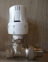 """Комплект- термоголовка с краном радиаторным прямым ½"""""""