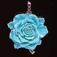 [55/50 мм.] Кулон подвеска Роза Большая Полимерная  Глина Голубая