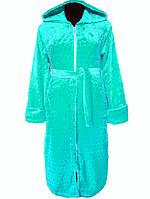 Бирюзовый махровый халат на поясе теплый женский домашний зимний велсофт мягкий с капюшоном Украина