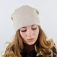 "Женская шапка, LaVisio ""Нинель"" с камнями (бежевый)"