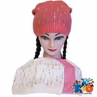 Детская трикотажная шапка, для девочек р-р 52-54