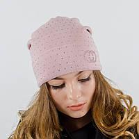 "Женская шапка, LaVisio ""Нинель"" с камнями (пудра)"