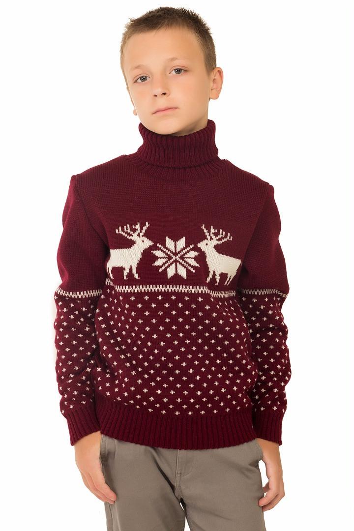 вязаный свитер бемби бордовый в категории кофты и свитеры для