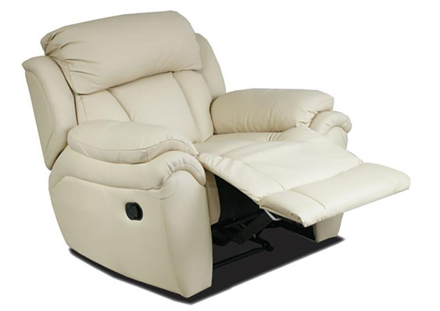 Кожаное кресло реклайнер Boston, раскладное кресло, кресло раскладушка, кресло с реклайнером, мягкое кресло