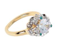 """Кольцо """"Дурман"""" с фианитами, покрытое золотом с родием (d335q0a3)"""
