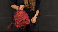 Бордовый супермини рюкзак из экокожи змеи