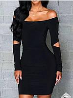 Платье женское короткое, ткань дайвинг, цвет черный, супер качество аа № 6590