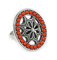"""Кольцо """"Эйше"""" с кораллом, покрытое серебром (b62730c0) (Нет бирки)"""