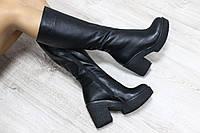 Демисезонные кожаные сапоги черные на удобном каблуке Материал: натуральная кожа, байка