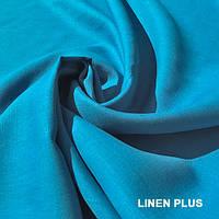 Синяя льняная ткань 100% лен, цвет 428