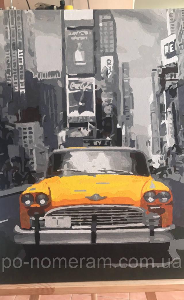 Фото нарисованной картины по номерам Mariposa Нью-Йоркское такси MR-Q1249