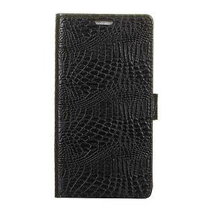 Чехол книжка для Motorola Moto Z2 Play XT1710 боковой с отсеком для визиток, Крокодиловая кожа, Черный