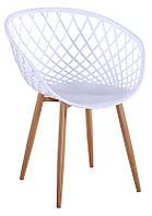 Кресло М-09 белый, пластиковый стул резной для дома, HoReCa