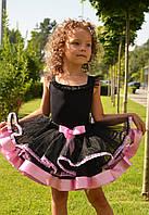 Юбка-пачка черная с розовой отделкой