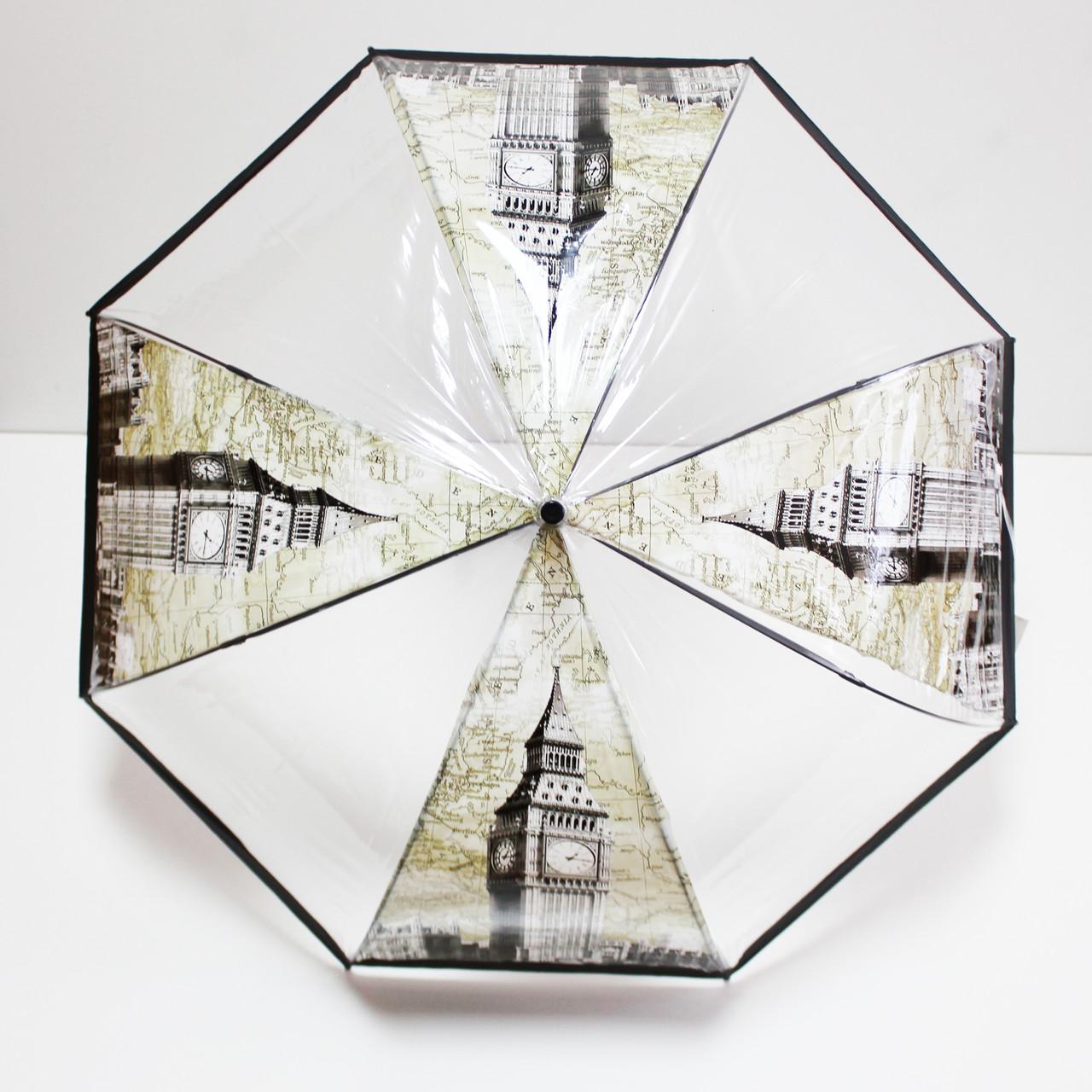 Женский зонт  трость  с принтом города