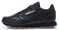Мужские кроссовки Reebok Classic Leather Black Рибок черные