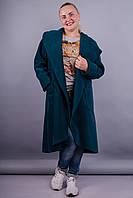 Сарена. Женское пальто-кардиган больших размеров. Бутылка.