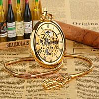 Карманные часы на цепочке мужские механические из бронзы